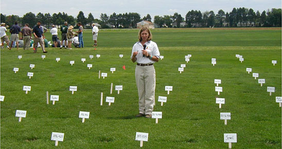 Photo: Prof. Stacy Bonos discusses turf varieties at Rutgers annual summer turf field days.
